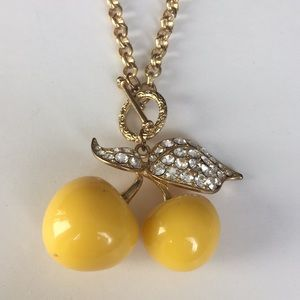 Two Yellow Cherries, Crystals gold leaves& Chain